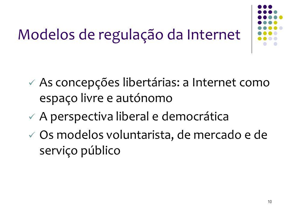 10 Modelos de regulação da Internet As concepções libertárias: a Internet como espaço livre e autónomo A perspectiva liberal e democrática Os modelos