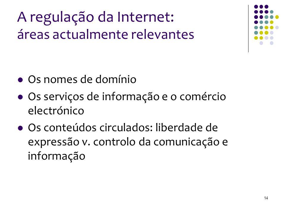 A regulação da Internet: áreas actualmente relevantes Os nomes de domínio Os serviços de informação e o comércio electrónico Os conteúdos circulados: