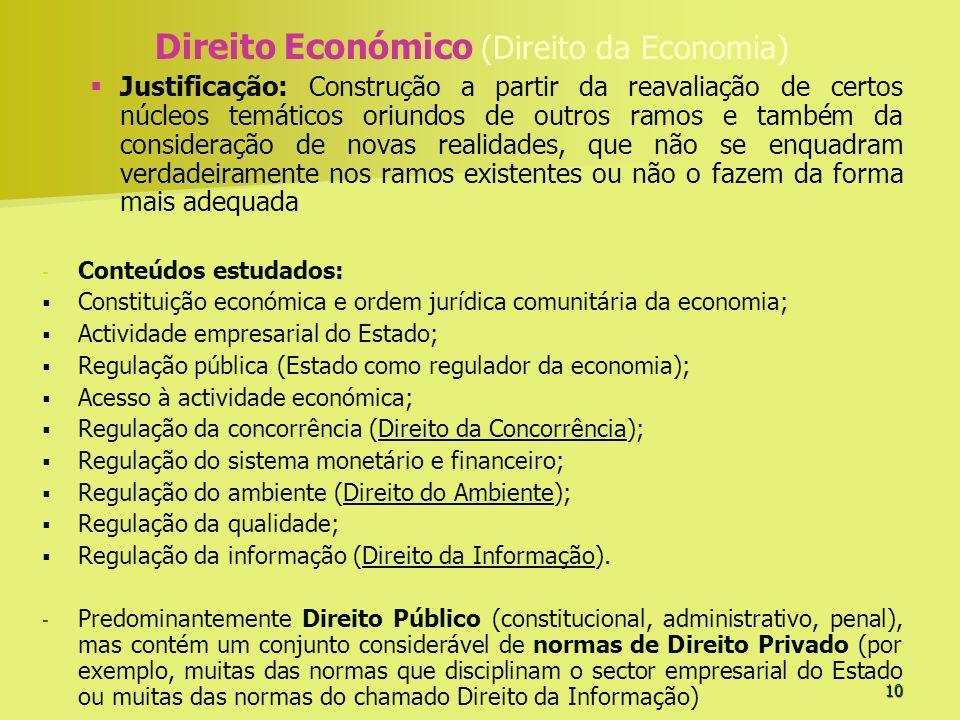 10 Direito Económico (Direito da Economia) Justificação: Construção a partir da reavaliação de certos núcleos temáticos oriundos de outros ramos e tam