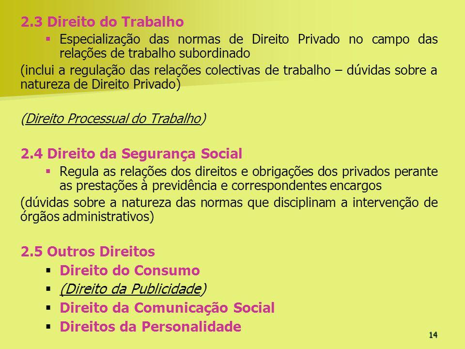 14 2.3 Direito do Trabalho Especialização das normas de Direito Privado no campo das relações de trabalho subordinado (inclui a regulação das relações
