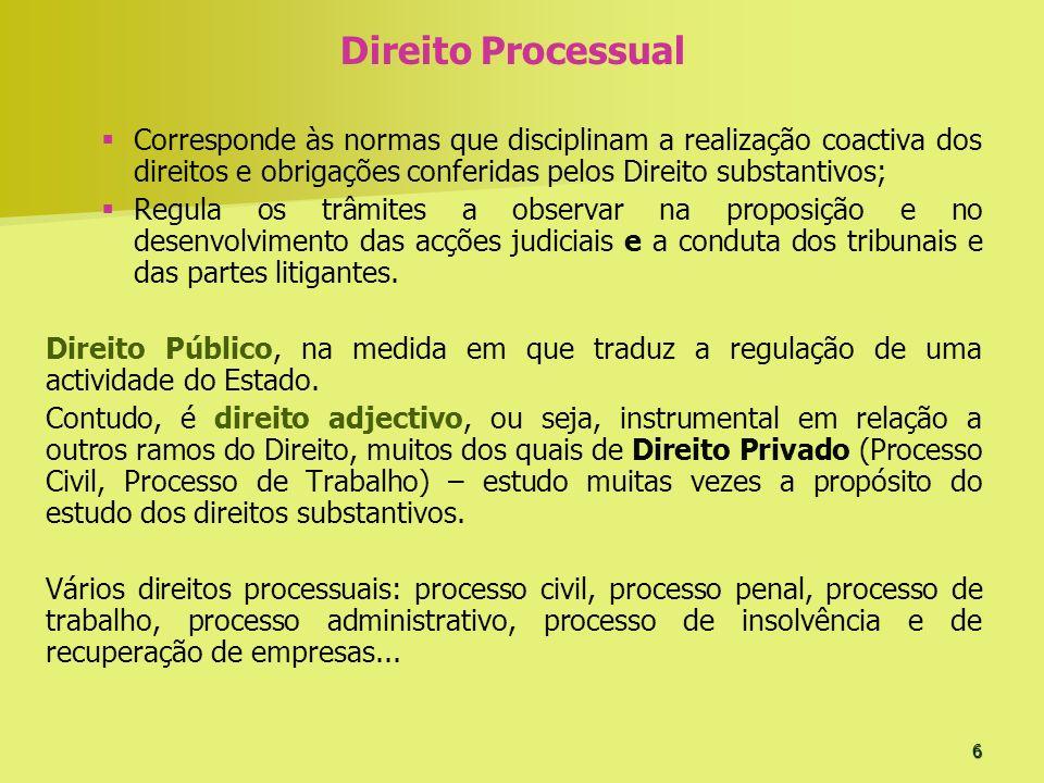 6 Direito Processual Corresponde às normas que disciplinam a realização coactiva dos direitos e obrigações conferidas pelos Direito substantivos; Regu