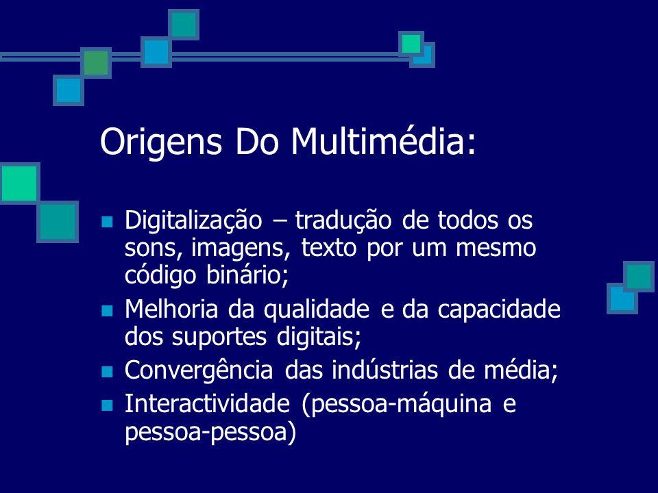 Origens Do Multimédia: Digitalização – tradução de todos os sons, imagens, texto por um mesmo código binário; Melhoria da qualidade e da capacidade do