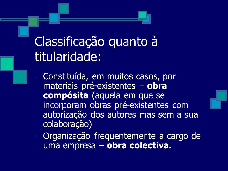 Classificação quanto à titularidade: - Constituída, em muitos casos, por materiais pré-existentes – obra compósita (aquela em que se incorporam obras
