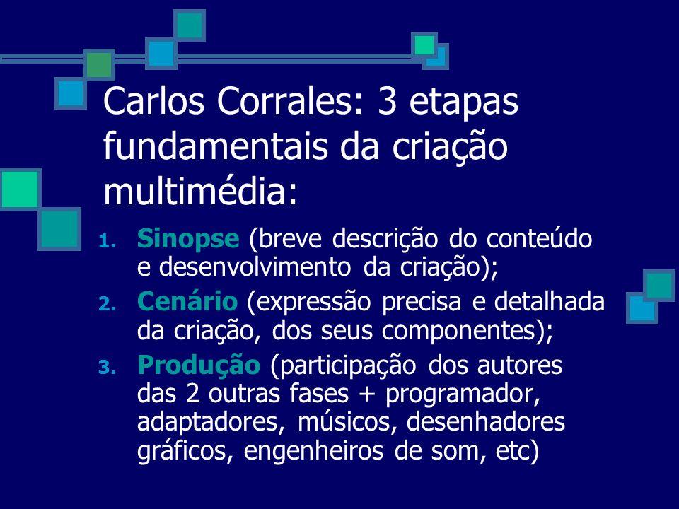 Carlos Corrales: 3 etapas fundamentais da criação multimédia: 1. Sinopse (breve descrição do conteúdo e desenvolvimento da criação); 2. Cenário (expre