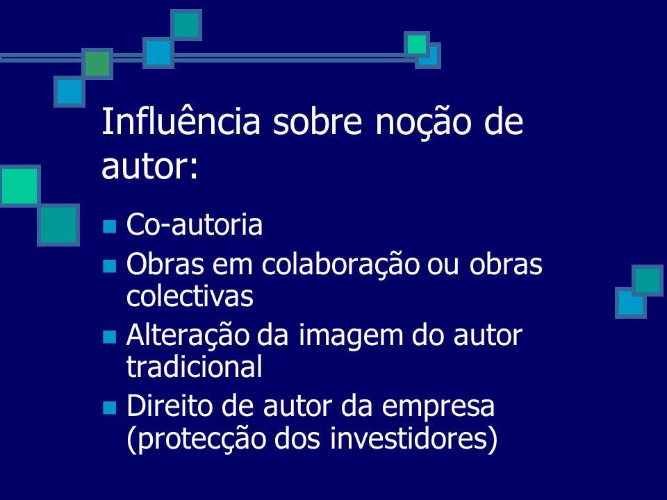 Influência sobre noção de autor: Co-autoria Obras em colaboração ou obras colectivas Alteração da imagem do autor tradicional Direito de autor da empr
