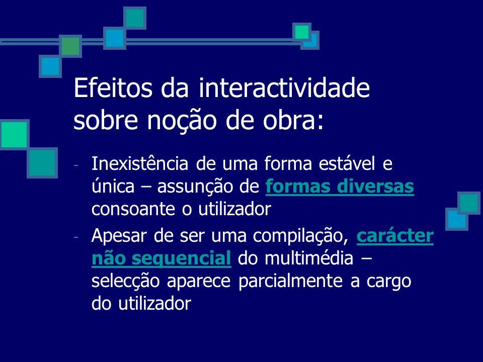 Efeitos da interactividade sobre noção de obra: - Inexistência de uma forma estável e única – assunção de formas diversas consoante o utilizador - Ape