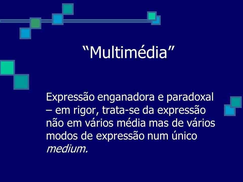 Multimédia Expressão enganadora e paradoxal – em rigor, trata-se da expressão não em vários média mas de vários modos de expressão num único medium.