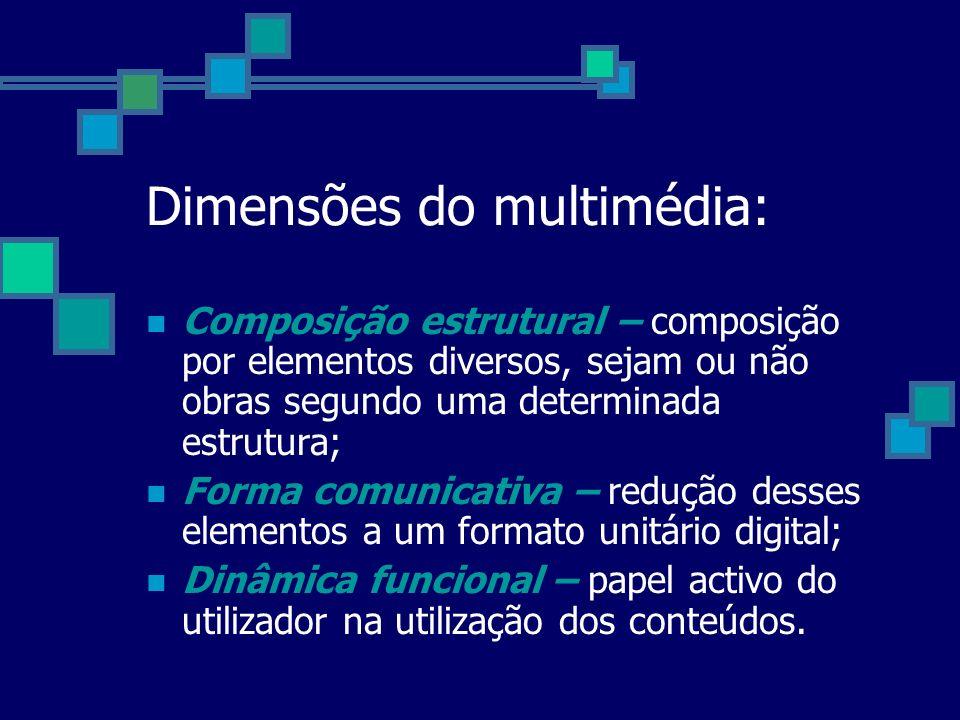 Dimensões do multimédia: Composição estrutural – composição por elementos diversos, sejam ou não obras segundo uma determinada estrutura; Forma comuni