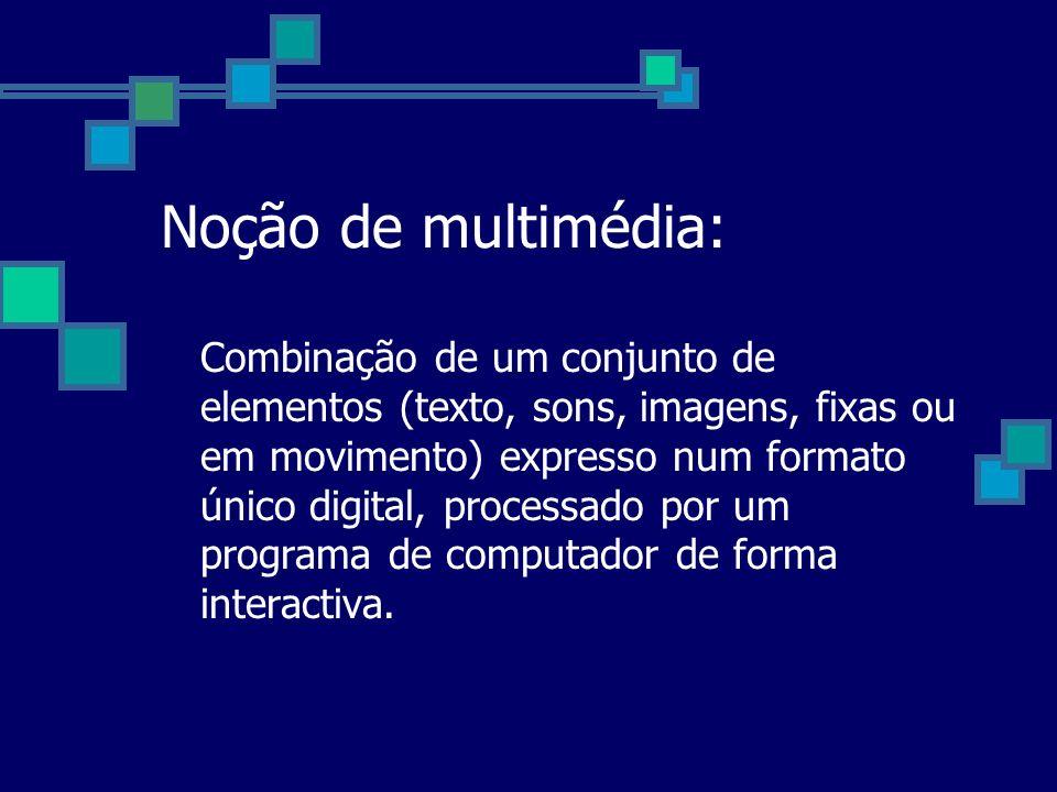 Noção de multimédia: Combinação de um conjunto de elementos (texto, sons, imagens, fixas ou em movimento) expresso num formato único digital, processa