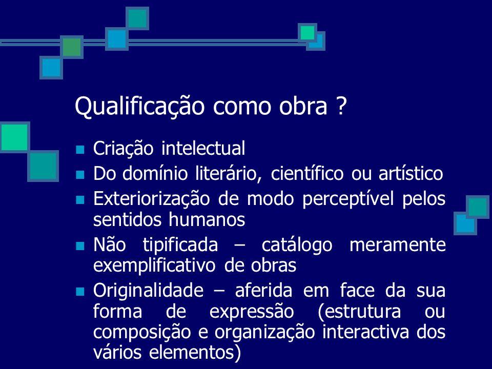 Qualificação como obra ? Criação intelectual Do domínio literário, científico ou artístico Exteriorização de modo perceptível pelos sentidos humanos N