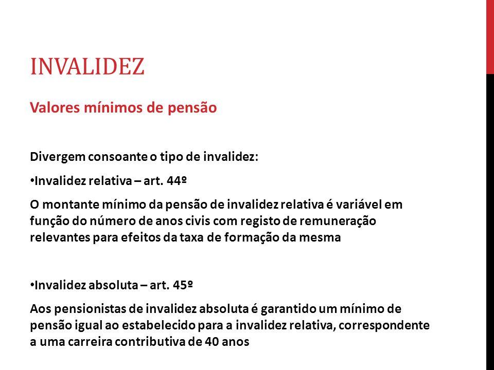 INVALIDEZ Valores mínimos de pensão Divergem consoante o tipo de invalidez: Invalidez relativa – art. 44º O montante mínimo da pensão de invalidez rel