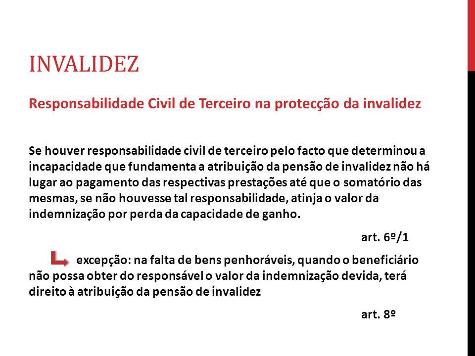 INVALIDEZ Responsabilidade Civil de Terceiro na protecção da invalidez Se houver responsabilidade civil de terceiro pelo facto que determinou a incapa
