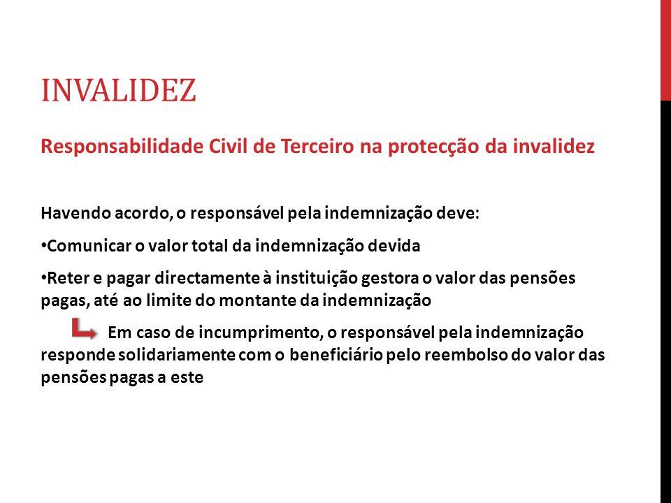 INVALIDEZ Responsabilidade Civil de Terceiro na protecção da invalidez Havendo acordo, o responsável pela indemnização deve: Comunicar o valor total d