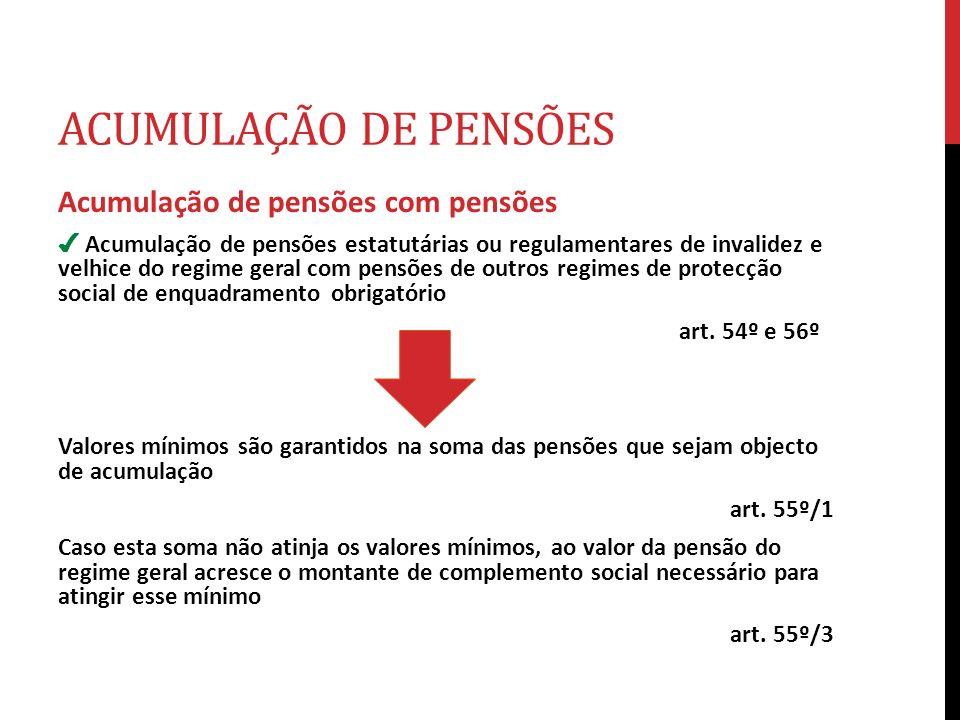 ACUMULAÇÃO DE PENSÕES Acumulação de pensões com pensões Acumulação de pensões estatutárias ou regulamentares de invalidez e velhice do regime geral co