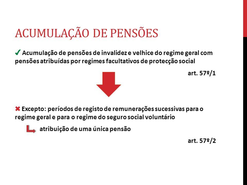ACUMULAÇÃO DE PENSÕES Acumulação de pensões de invalidez e velhice do regime geral com pensões atribuídas por regimes facultativos de protecção social
