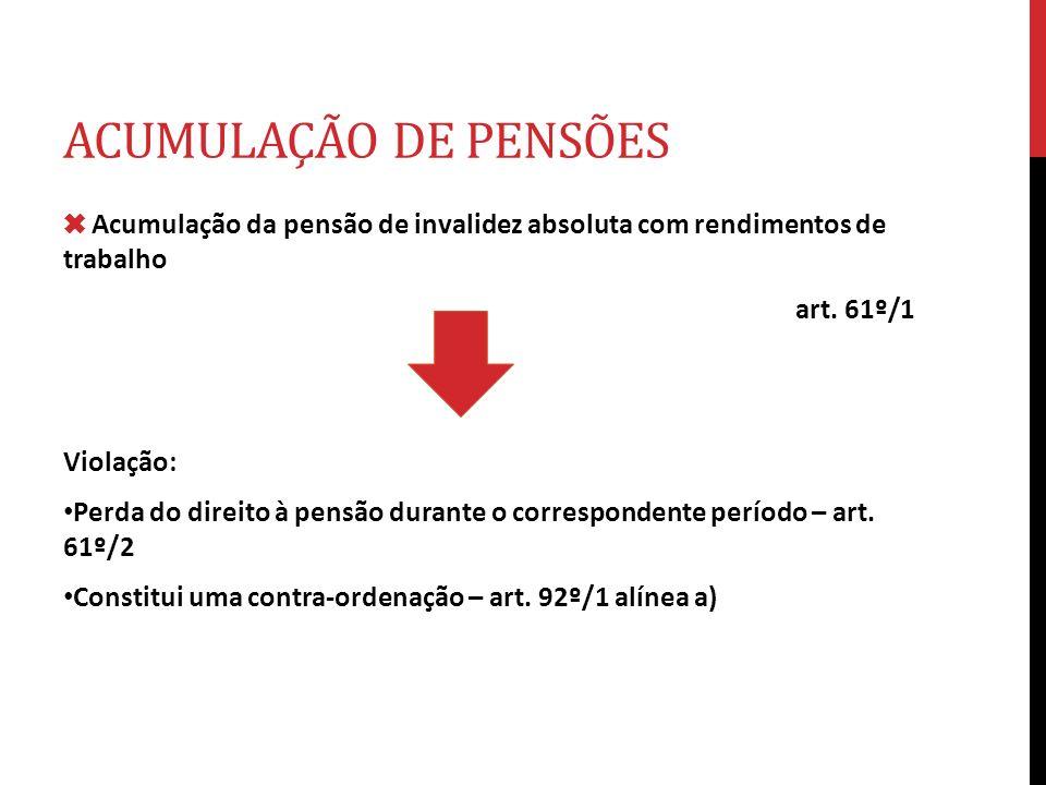 ACUMULAÇÃO DE PENSÕES Acumulação da pensão de invalidez absoluta com rendimentos de trabalho art. 61º/1 Violação: Perda do direito à pensão durante o