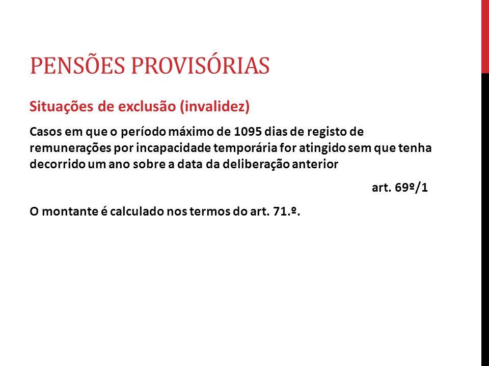 PENSÕES PROVISÓRIAS Situações de exclusão (invalidez) Casos em que o período máximo de 1095 dias de registo de remunerações por incapacidade temporári