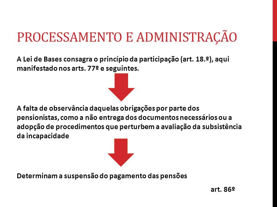 PROCESSAMENTO E ADMINISTRAÇÃO A Lei de Bases consagra o princípio da participação (art. 18.º), aqui manifestado nos arts. 77º e seguintes. A falta de