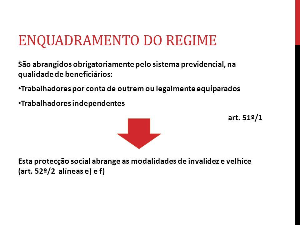 ENQUADRAMENTO DO REGIME São abrangidos obrigatoriamente pelo sistema previdencial, na qualidade de beneficiários: Trabalhadores por conta de outrem ou