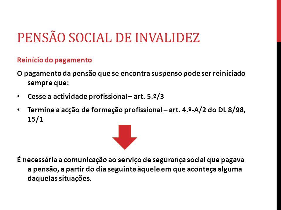 PENSÃO SOCIAL DE INVALIDEZ Reinício do pagamento O pagamento da pensão que se encontra suspenso pode ser reiniciado sempre que: Cesse a actividade pro