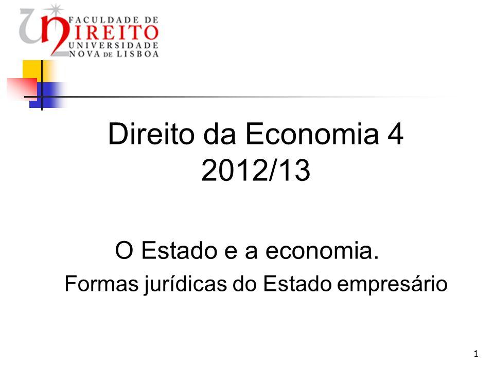 1 Direito da Economia 4 2012/13 O Estado e a economia. Formas jurídicas do Estado empresário