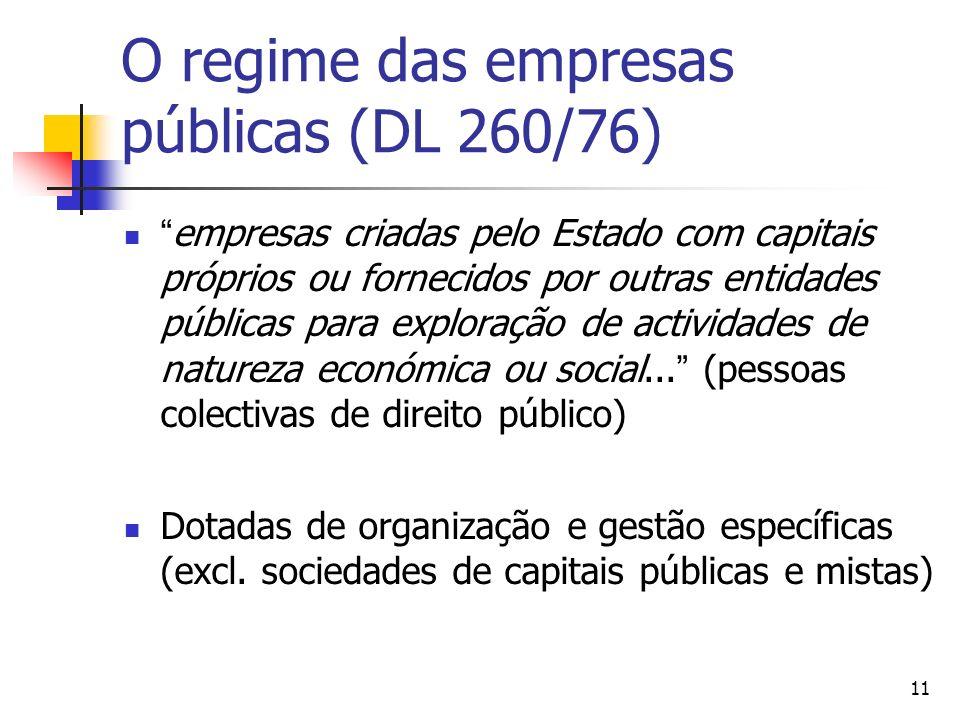 11 O regime das empresas públicas (DL 260/76) empresas criadas pelo Estado com capitais próprios ou fornecidos por outras entidades públicas para exploração de actividades de natureza económica ou social...