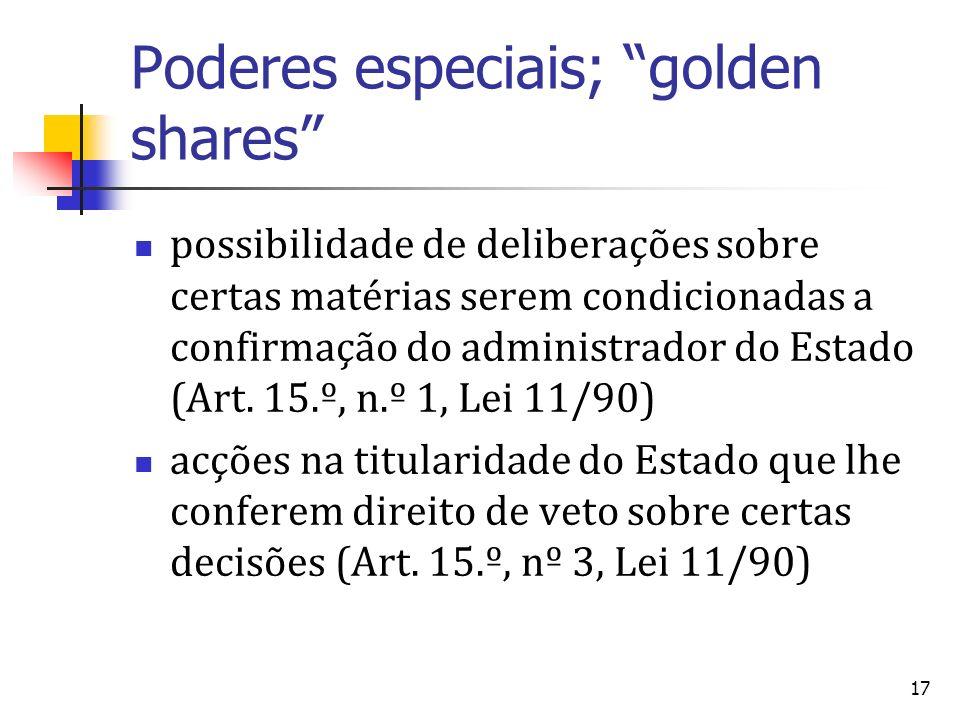 17 Poderes especiais; golden shares possibilidade de deliberações sobre certas matérias serem condicionadas a confirmação do administrador do Estado (Art.