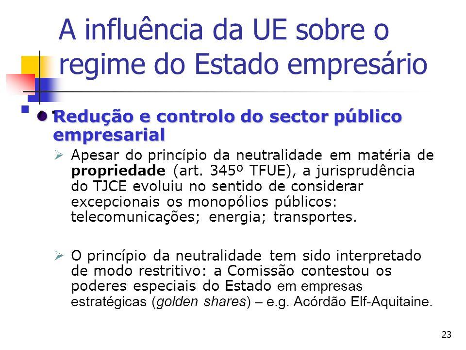 23 Redução e controlo do sector público empresarial Redução e controlo do sector público empresarial Apesar do princípio da neutralidade em matéria de propriedade (art.