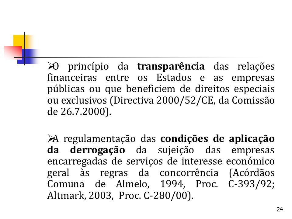 24 O princípio da transparência das relações financeiras entre os Estados e as empresas públicas ou que beneficiem de direitos especiais ou exclusivos (Directiva 2000/52/CE, da Comissão de 26.7.2000).