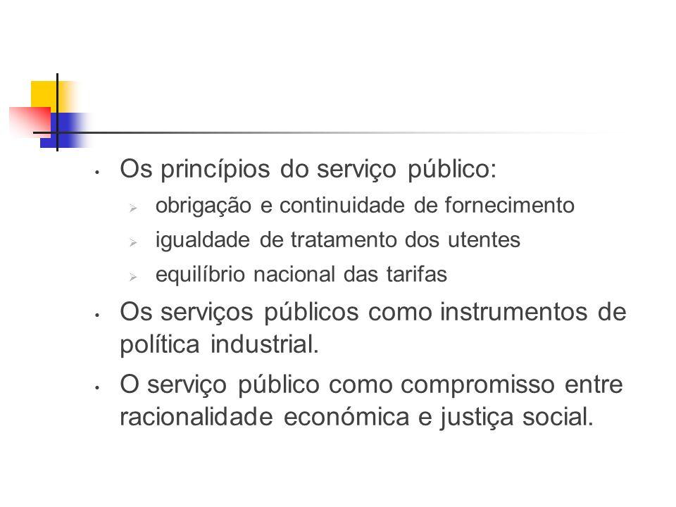 Os princípios do serviço público: obrigação e continuidade de fornecimento igualdade de tratamento dos utentes equilíbrio nacional das tarifas Os serviços públicos como instrumentos de política industrial.