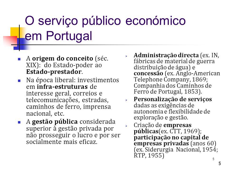 5 5 O serviço público económico em Portugal A origem do conceito (séc.