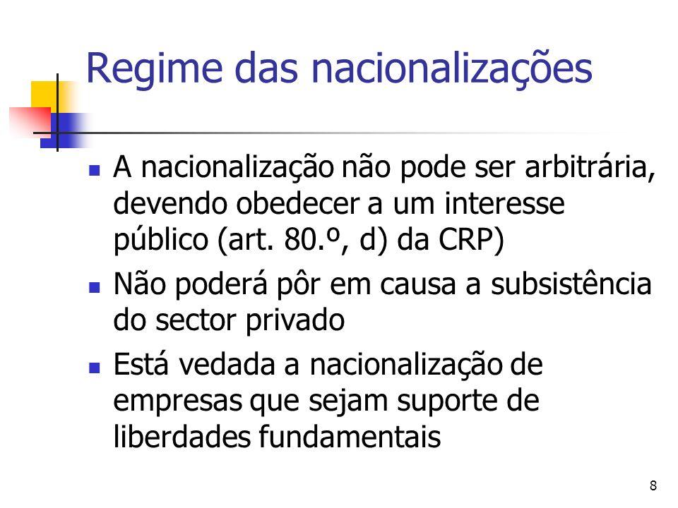 8 Regime das nacionalizações A nacionalização não pode ser arbitrária, devendo obedecer a um interesse público (art.