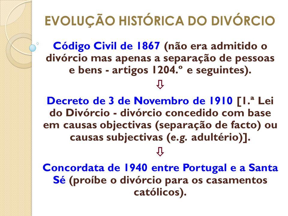 EVOLUÇÃO HISTÓRICA DO DIVÓRCIO Código Civil de 1867 (não era admitido o divórcio mas apenas a separação de pessoas e bens - artigos 1204.º e seguintes