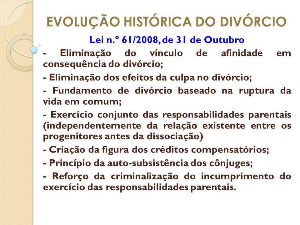 EVOLUÇÃO HISTÓRICA DO DIVÓRCIO Lei n.º 61/2008, de 31 de Outubro - Eliminação do vínculo de afinidade em consequência do divórcio; - Eliminação dos ef