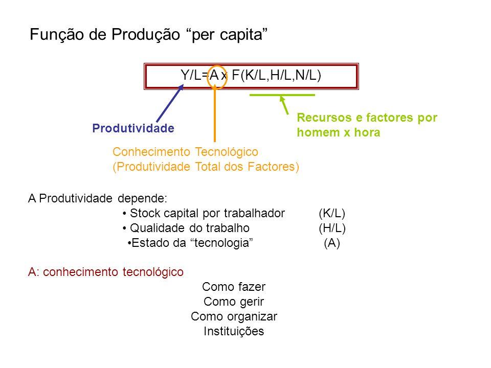 Função de Produção per capita Y/L=A x F(K/L,H/L,N/L) Produtividade Recursos e factores por homem x hora Conhecimento Tecnológico (Produtividade Total