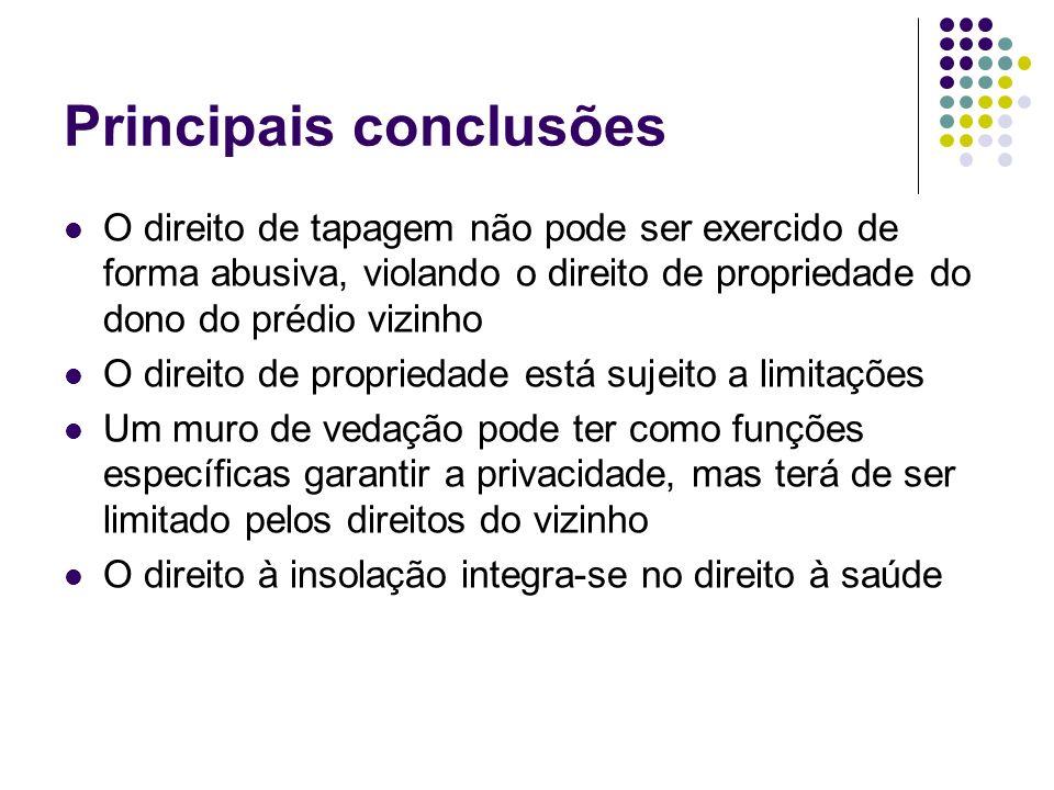 Principais conclusões O direito de tapagem não pode ser exercido de forma abusiva, violando o direito de propriedade do dono do prédio vizinho O direi