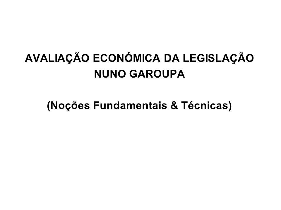 AVALIAÇÃO ECONÓMICA DA LEGISLAÇÃO NUNO GAROUPA (Noções Fundamentais & Técnicas)