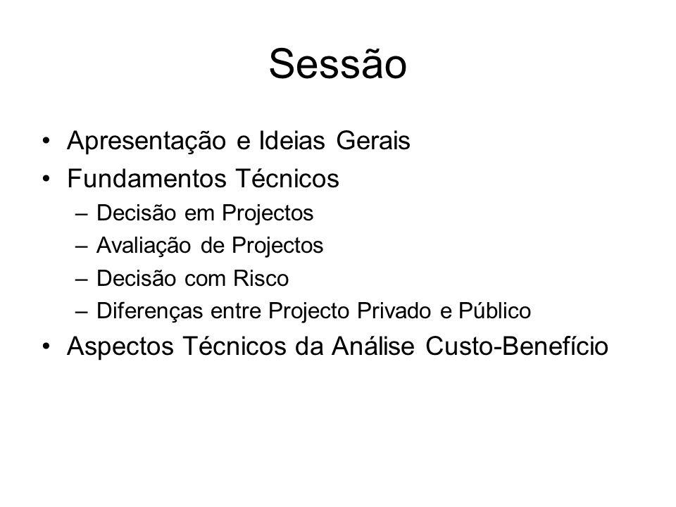 Sessão Apresentação e Ideias Gerais Fundamentos Técnicos –Decisão em Projectos –Avaliação de Projectos –Decisão com Risco –Diferenças entre Projecto Privado e Público Aspectos Técnicos da Análise Custo-Benefício