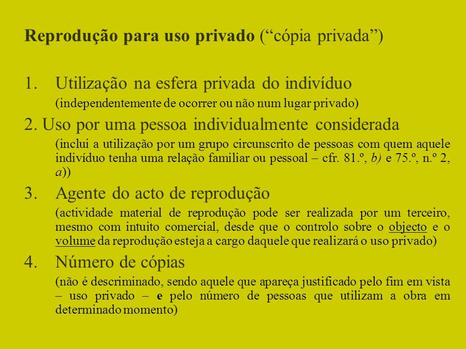 Reprodução para uso privado (cópia privada) 1.Utilização na esfera privada do indivíduo (independentemente de ocorrer ou não num lugar privado) 2. Uso