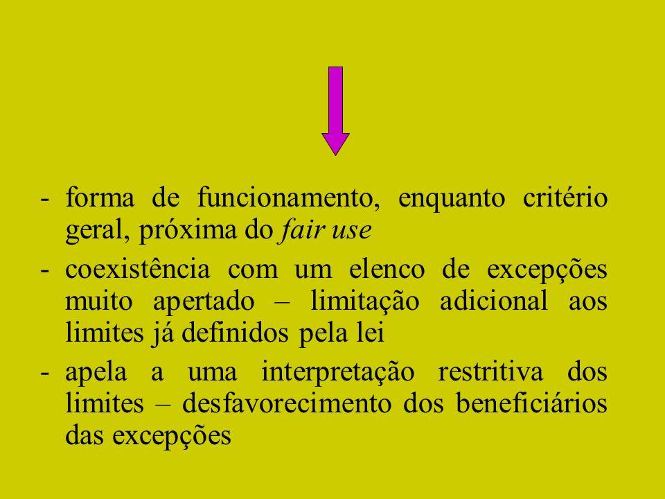 -forma de funcionamento, enquanto critério geral, próxima do fair use -coexistência com um elenco de excepções muito apertado – limitação adicional ao
