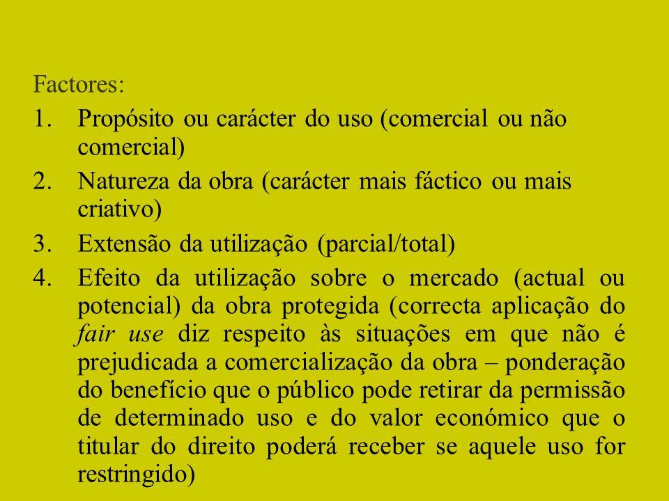 Factores: 1.Propósito ou carácter do uso (comercial ou não comercial) 2.Natureza da obra (carácter mais fáctico ou mais criativo) 3.Extensão da utiliz