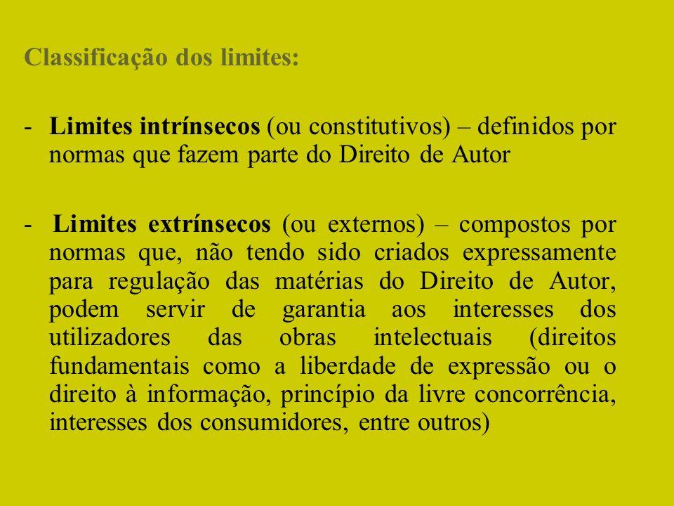 Classificação dos limites: -Limites intrínsecos (ou constitutivos) – definidos por normas que fazem parte do Direito de Autor - Limites extrínsecos (o