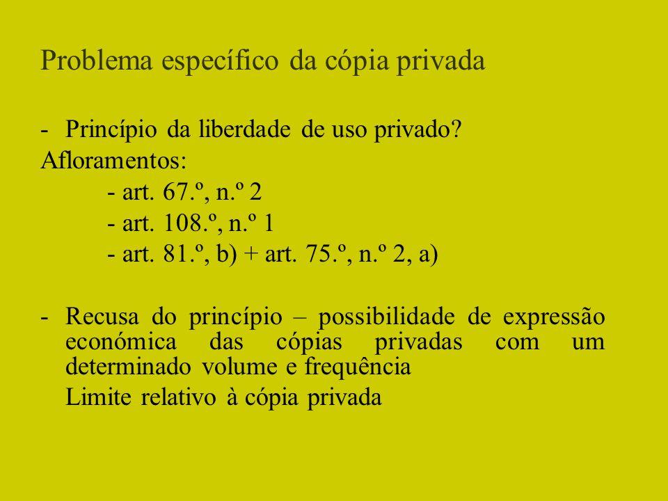Problema específico da cópia privada -Princípio da liberdade de uso privado? Afloramentos: - art. 67.º, n.º 2 - art. 108.º, n.º 1 - art. 81.º, b) + ar