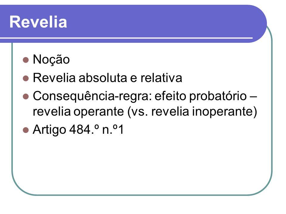 Revelia Noção Revelia absoluta e relativa Consequência-regra: efeito probatório – revelia operante (vs. revelia inoperante) Artigo 484.º n.º1