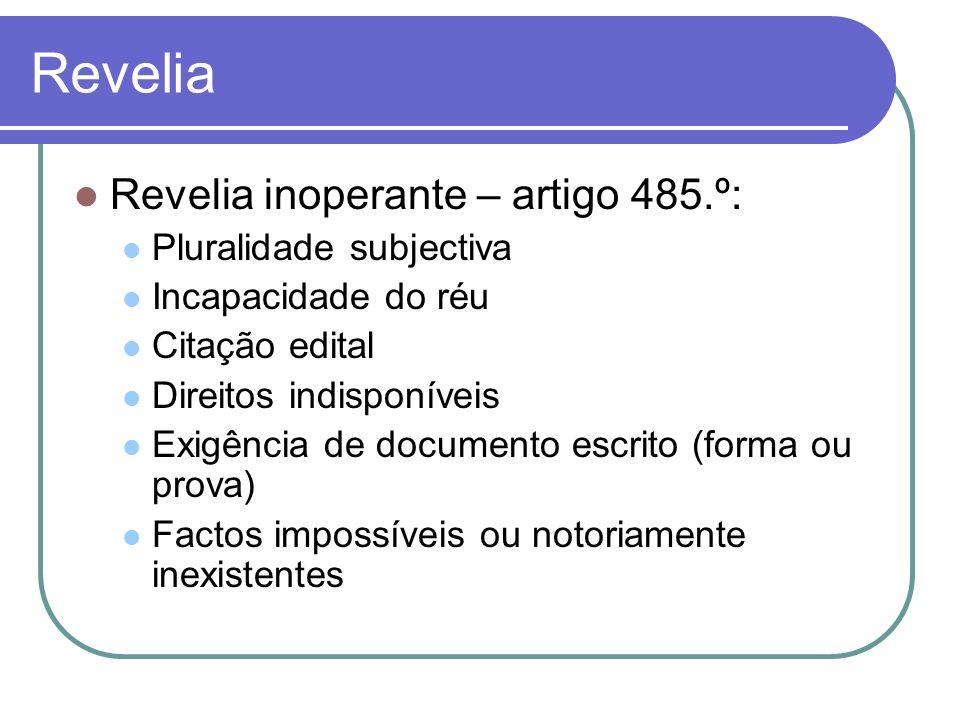 Revelia Revelia inoperante – artigo 485.º: Pluralidade subjectiva Incapacidade do réu Citação edital Direitos indisponíveis Exigência de documento esc