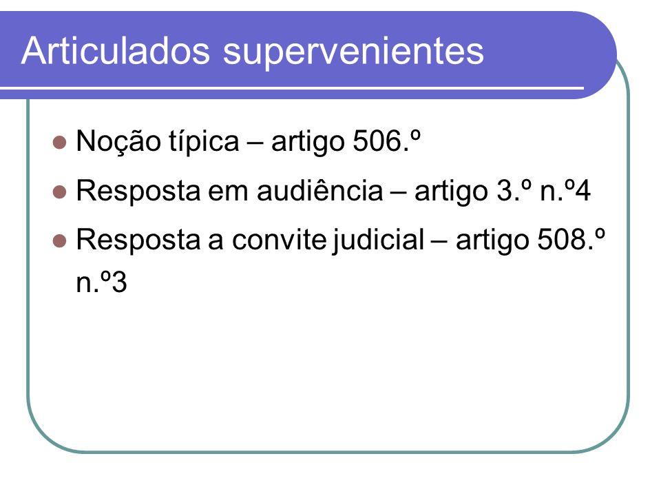 Articulados supervenientes Noção típica – artigo 506.º Resposta em audiência – artigo 3.º n.º4 Resposta a convite judicial – artigo 508.º n.º3