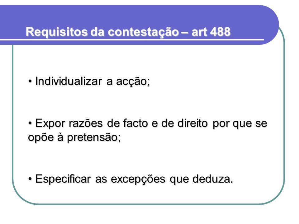 Requisitos da contestação – art 488 Individualizar a acção; Individualizar a acção; Expor razões de facto e de direito por que se opõe à pretensão; Ex