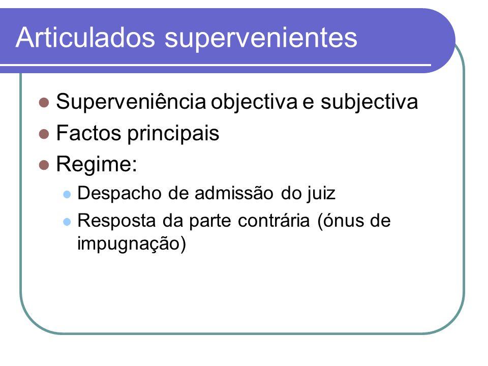 Articulados supervenientes Superveniência objectiva e subjectiva Factos principais Regime: Despacho de admissão do juiz Resposta da parte contrária (ó