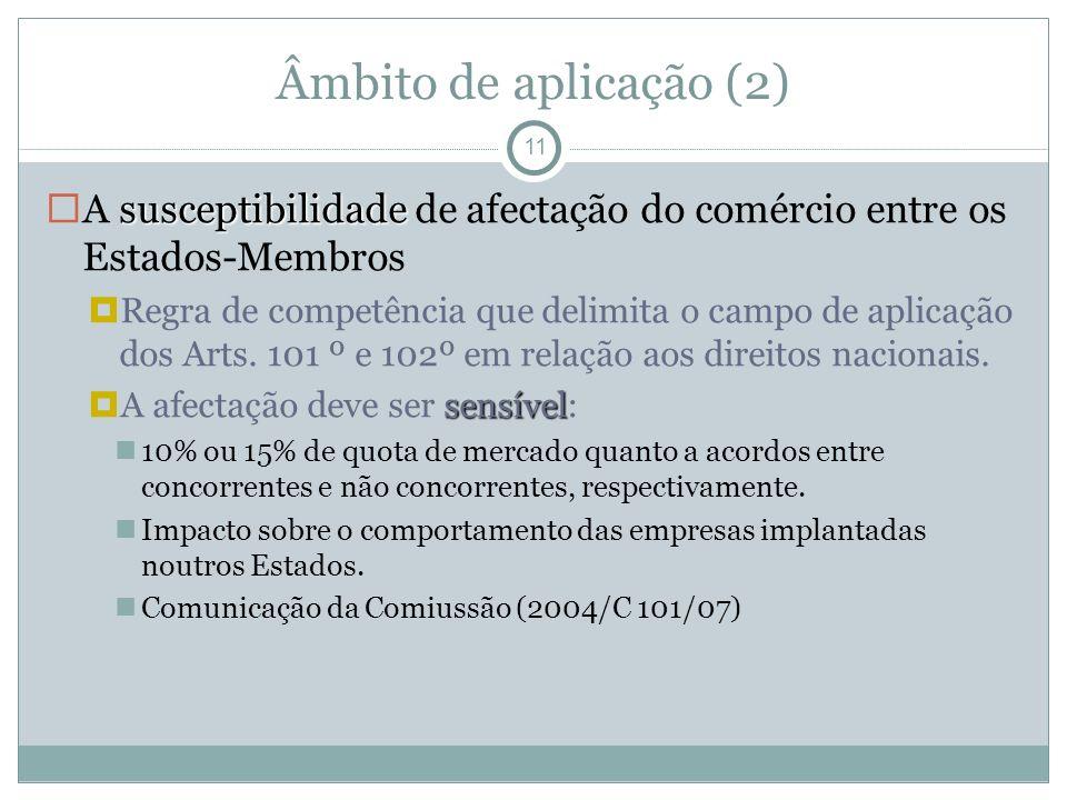 Âmbito de aplicação (2) 11 susceptibilidade A susceptibilidade de afectação do comércio entre os Estados-Membros Regra de competência que delimita o campo de aplicação dos Arts.