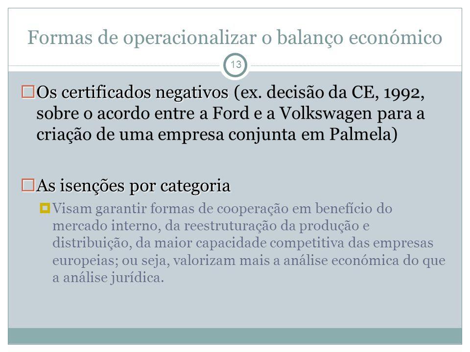 Formas de operacionalizar o balanço económico 13 Os certificados negativos Os certificados negativos (ex.
